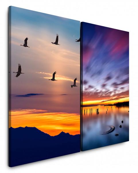 2 Bilder je 60x90cm Horizont Kraniche Vögel Himmel Abendröte Berge Sonnenuntergang
