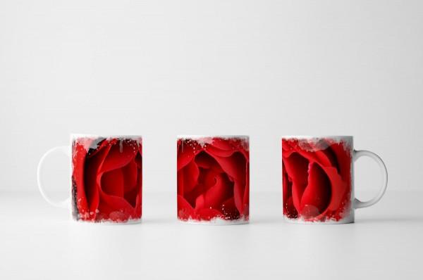Tasse Rote Rosenknospe