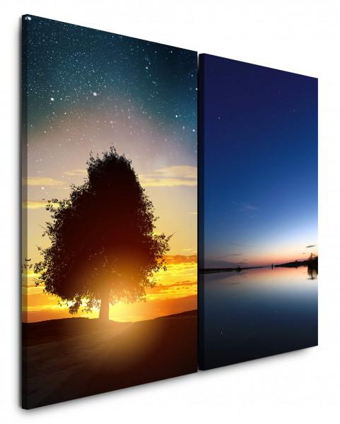 2 Bilder je 60x90cm Baum Abendröte Sonnenuntergang Meer Nachthimmel Sterne Nachthimmel