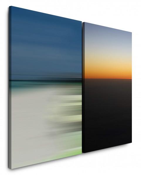 2 Bilder je 60x90cm Minimal Modern Abendröte Harmonisch Entspannend Sonnenuntergang Weite