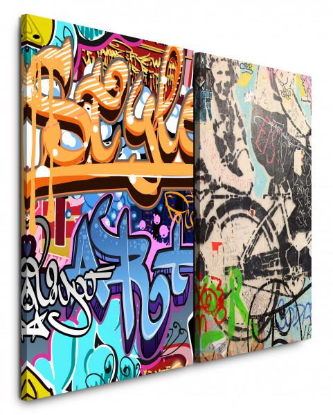 2 Bilder je 60x90cm Streetart Graffiti Tags Wall Jugendzimmer Bunt Grungy