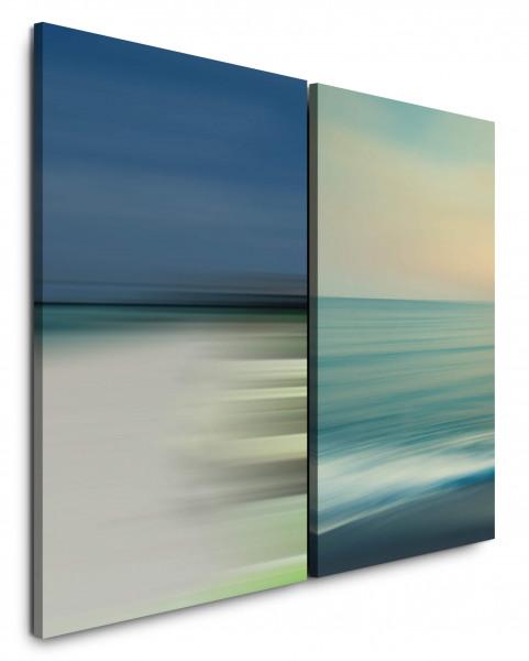 2 Bilder je 60x90cm Meer Horizont Wellen Abstrakt Minimal Pastellfarben Klar