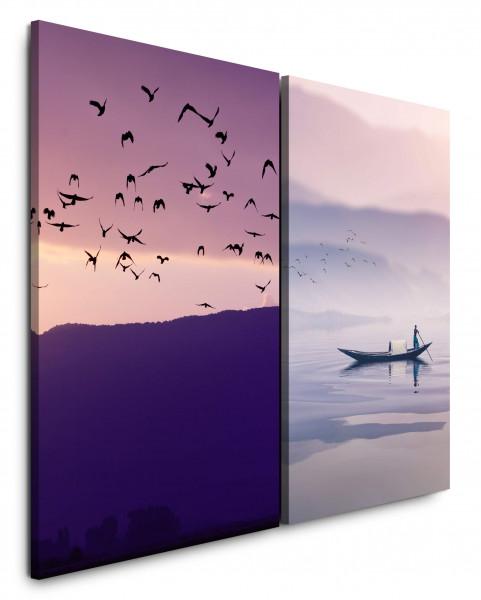2 Bilder je 60x90cm Fischer Fluss Berge Vögel Himmel Boot Asien
