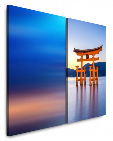 2 Bilder je 60x90cm Miyajima Schrein Schrein-Insel Japan Hiroshima Berg See