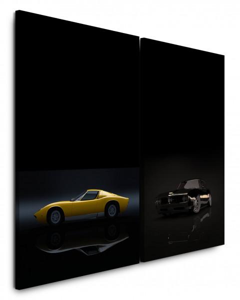 2 Bilder je 60x90cm Ferrari Gelb Musclecar GTO Oldtimer Traumauto Schwarz
