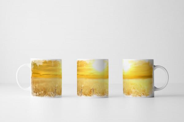Tasse Sonne über Weizenfeld
