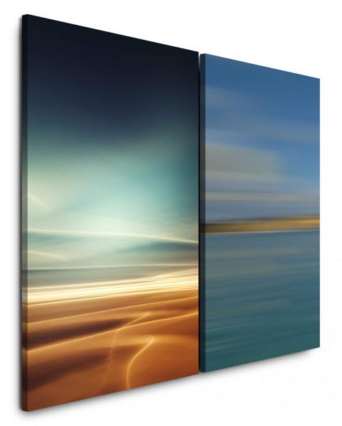 2 Bilder je 60x90cm Wüste Sahara Himmel Gold Balu Horizont Relax