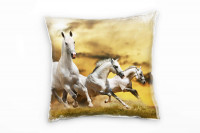 drei weiße Pferde Deko Kissen