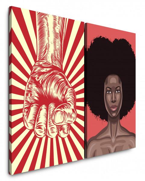 2 Bilder je 60x90cm Faust Revolution Afro PopArt Girl Rot Power