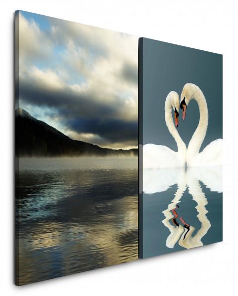 2 Bilder je 60x90cm Liebe Swan Weiße See Berge Romantisch Herz
