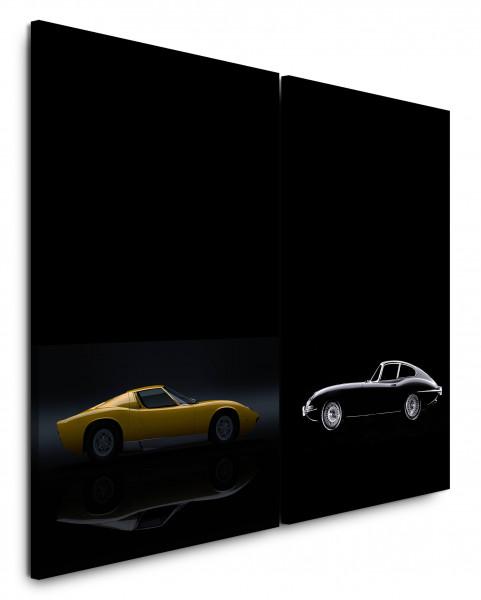 2 Bilder je 60x90cm Ferrari Oldtimer Schwarz Gelb Traumauto Jaguar Wagen