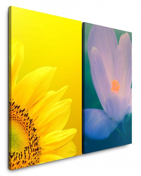 2 Bilder je 60x90cm Sonnenblume Gelb Blumen Blüten Türkis Nahaufnahme Sommerlich