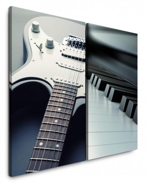 2 Bilder je 60x90cm Musik E-Gitarre Klavier Klaviertasten Gitarre Schwarz Weiß