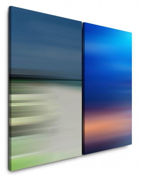 2 Bilder je 60x90cm Pastelltöne Horizont Himmel Minimal Blau Modern Harmonie