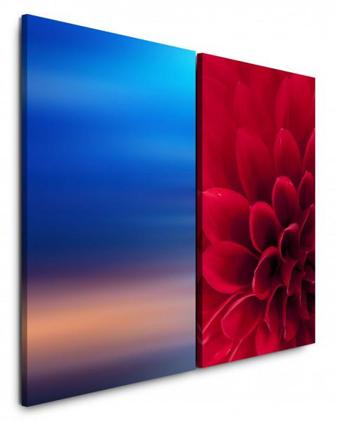 2 Bilder je 60x90cm Rot Blau Blume Himmel Nahaufnahme Makro