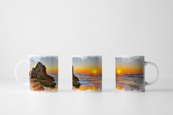 Tasse Sonnenuntergang am Meer