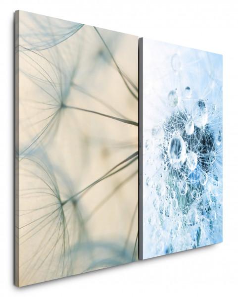 2 Bilder je 60x90cm Pusteblume Wassertropfen Hellblau Tropfen Nahaufnahme Fotokunst Makrofotografie