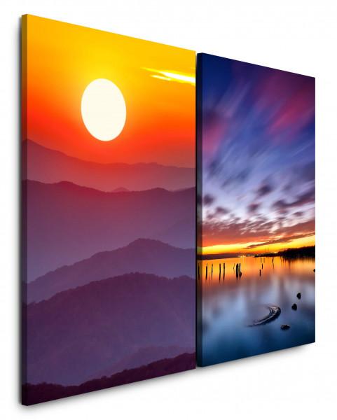 2 Bilder je 60x90cm Berge Sonne Berglandschaft Roter Himmel Abendröte Sonnenuntergang