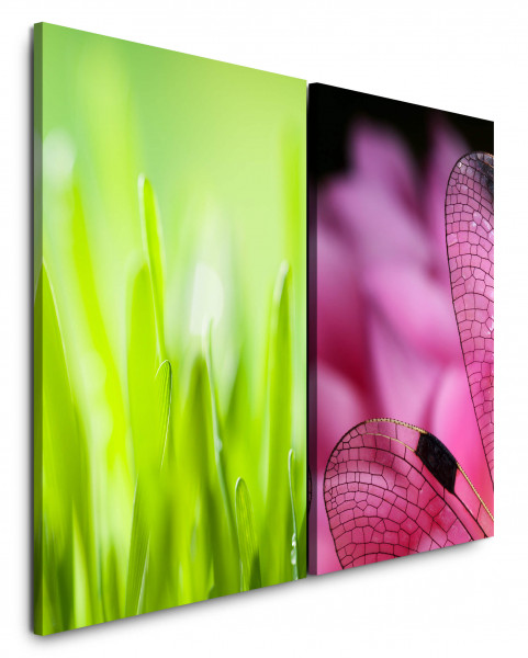 2 Bilder je 60x90cm Gras Grün Rosa Libelle Nahaufnahme Grashalme Natur