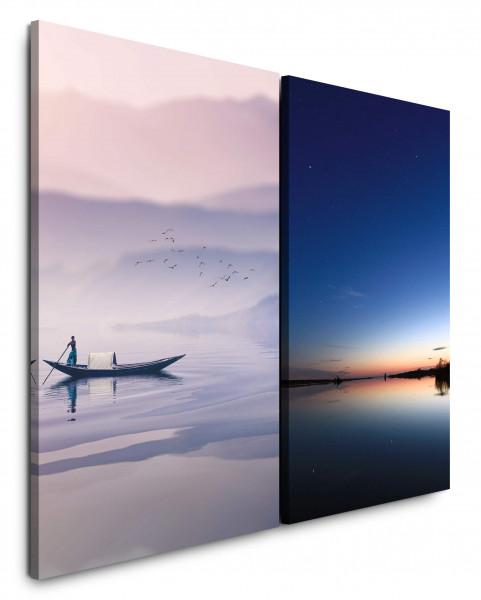 2 Wandbilderje 60x90cm Fischer Boot See Berge Sonnenuntergang Fluss Abenddämmerung