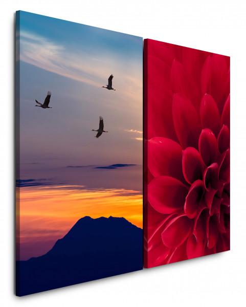 2 Wandbilderje 60x90cm Dahlie Blume Kraniche Japan Berge Sonnenuntergang Himmel