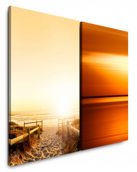 2 Bilder je 60x90cm Orange Nordsee Ostsee Sand Strand Sonnenuntergang Abendröte