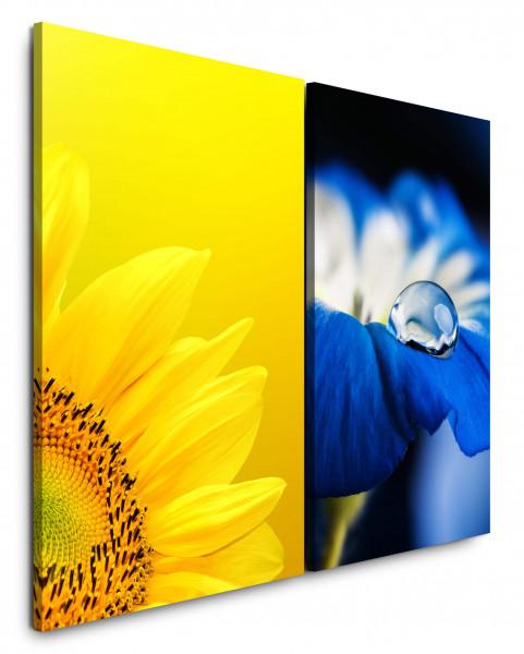 2 Wandbilderje 60x90cm Sonnenblume Gelb Tropfen Blau Blüte Blumen Makro