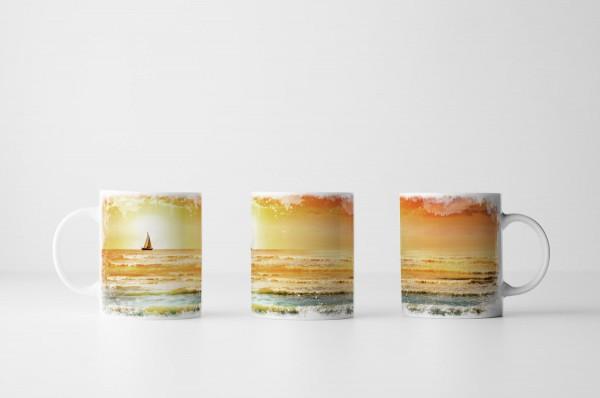 Tasse Segelboot Sonnenaufgang
