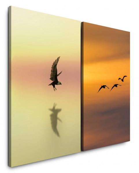 2 Wandbilderje 60x90cm Vögel Flug Freiheit Abenddämmerung Weißkopfseeadler Himmel Abendröte