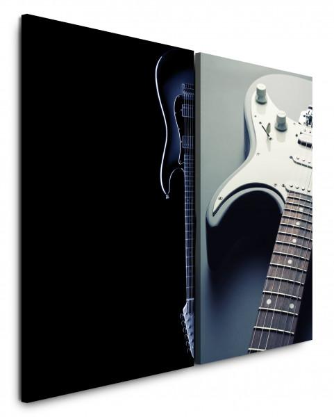 2 Bilder je 60x90cm Gitarre Rock Metal E-Gitarre Musik Schwarz Heavy