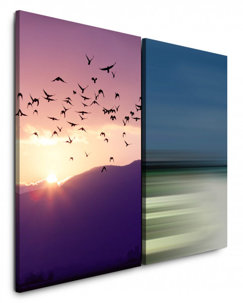 2 Bilder je 60x90cm Vögel Himmel Fliegen Freiheit Horizont Sonnenuntergang Wolken