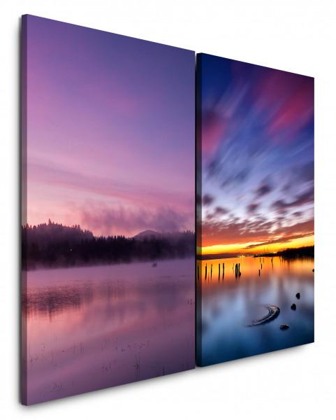 2 Bilder je 60x90cm See Horizont Rosa Sonnenuntergang Abendröte Himmel Wolken