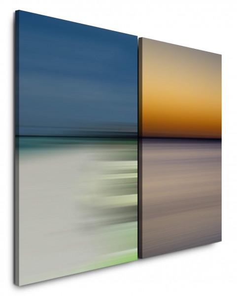 2 Bilder je 60x90cm Horizont Orange Blau Abenddämmerung Minimal Abstrakt Harmonisch