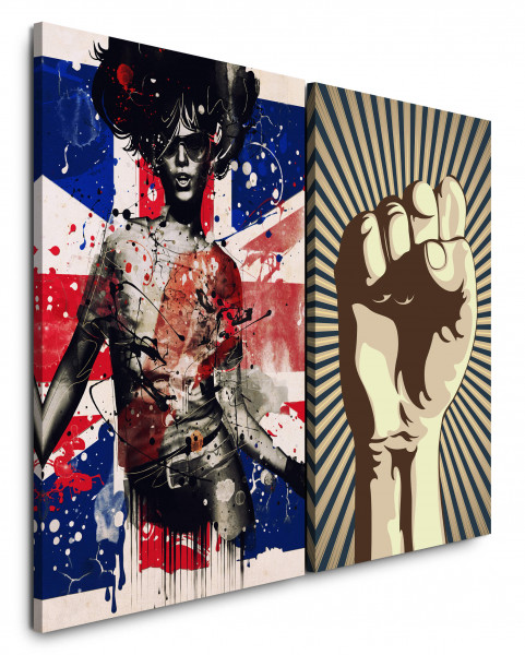 2 Bilder je 60x90cm England PopArt Revolution Graffiti Grungy Girl Power