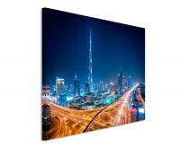 Premium Leinwandbild Dubai bei Nacht