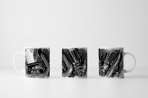 Tasse Chrom Motor Schwarz Weiß