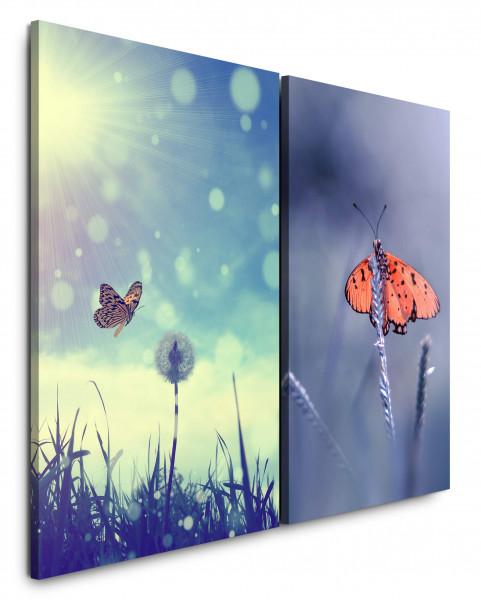2 Bilder je 60x90cm Sommer Schmetterling Pusteblume Sommerwiese Sonnenschein Violett Makro
