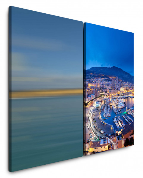 2 Bilder je 60x90cm Hafen Monaco Jachten Küste Stadtlichter Urlaub Promenade