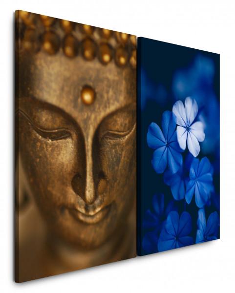 2 Bilder je 60x90cm Buddha Buddhakopf Tibet Blumen Blau Bronze Nahaufnahme