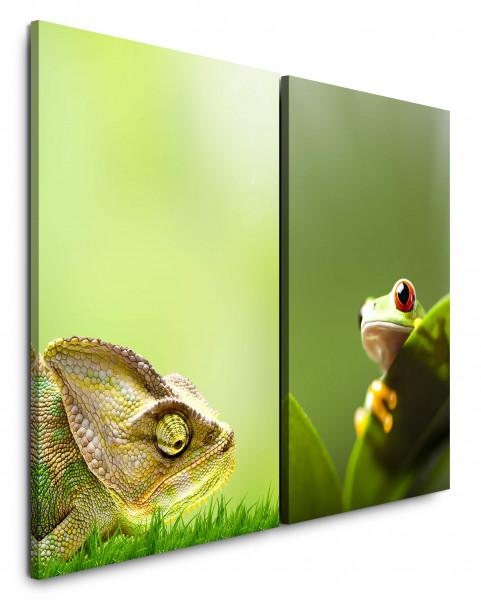 2 Wandbilderje 60x90cm Chamäleon Frosch Dschungel Gras Grün Blatt Natur