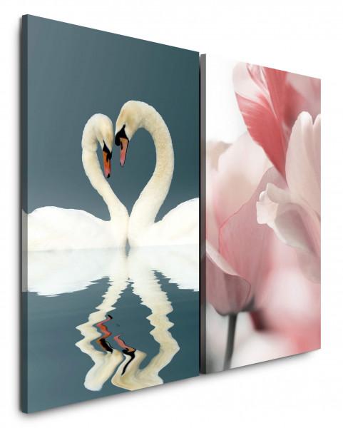 2 Bilder je 60x90cm Liebe Schwäne Romantisch Weiß Tulpen Blumen Liebende