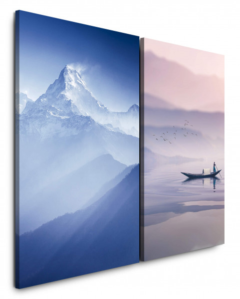2 Wandbilderje 60x90cm Berggipfel Mount Boot Everest Blau Schnee Fischer