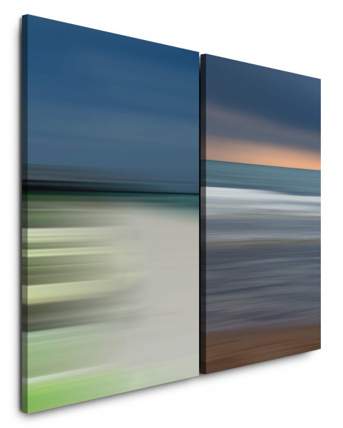 2 Bilder je 60x90cm Horizont Minimal Meer Strand Wellen Türkis Sonnenuntergang