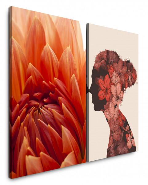 2 Bilder je 60x90cm Dahlie Blumen Rot Pastelltöne Frau Romantisch Chic