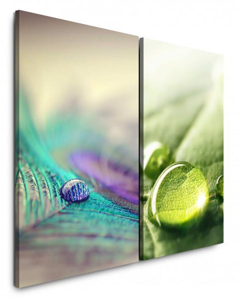 2 Wandbilderje 60x90cm Blatt Pfaufeder Makro Tropfen Grün Frisch