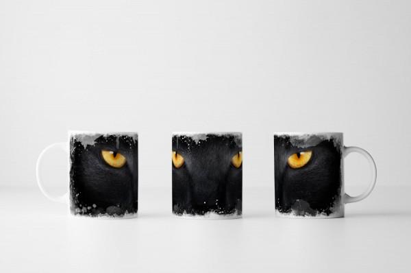 Tasse Goldene Augen einer schwarzen Katze