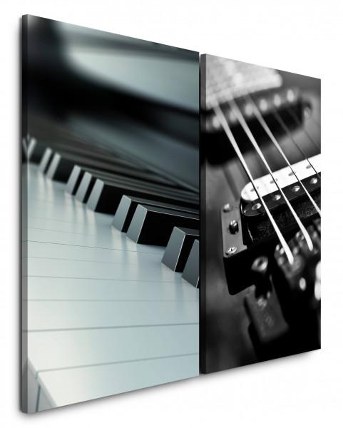 2 Bilder je 60x90cm Schwarz Weiß Piano Klaviertasten Gitarre Gitarrensaiten Musik