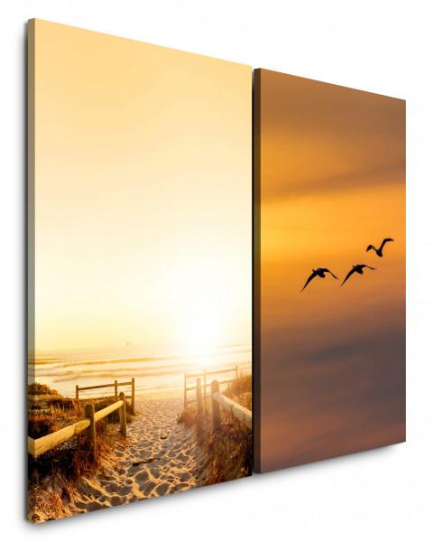 2 Wandbilderje 60x90cm Nordsee Ostsee Sylt Strand Sand Vögel Himmel