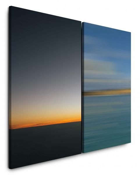 2 Bilder je 60x90cm Horizont Abendröte Abenddämmerung Türkis Sonnenuntergang Wolken Minimal