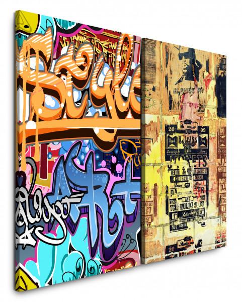 2 Wandbilderje 60x90cm Streetart Graffiti Tags Grungy Wall Alte Plakate